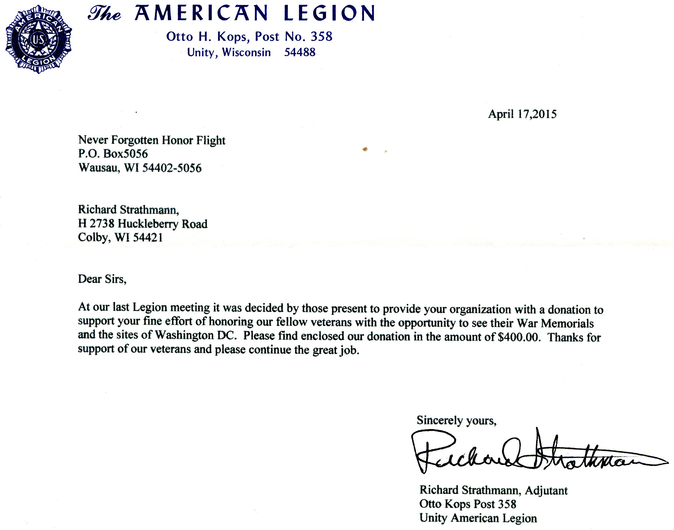 Never forgotten honor flight we fly our veterans to see for American legion donation letter